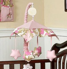 Camo Pink Crib Mobile - Set your baby girl nursery apart with this adorable pink camo Crib Mobile. Not looking for the same old nursery collection and love camo print? #crib #mobile