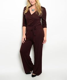 Love this Brown Surplice Jumpsuit - Plus on #zulily! #zulilyfinds