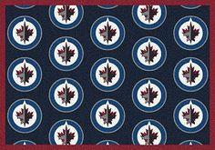 Winnipeg Jets Logo Repeat Rug in Winnipeg Jets from ACWG