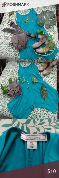 Xlarge Turquoise dress Gorgeous turquoise spaghetti strap dress with high low uneven fairy flowing hemline it has a cute single strap across the back can also be paired with boots and a fur💖 Adam Levine Collection Dresses Midi