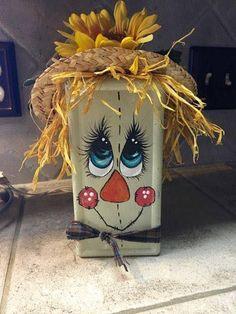 Brick Crafts, Fall Wood Crafts, Scarecrow Crafts, Fall Arts And Crafts, Halloween Arts And Crafts, Autumn Crafts, Scarecrows, Halloween Items, Diy Halloween Decorations