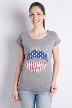 T-shirt manches courtes bouche drapeau