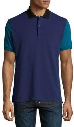 06609bee8 Burberry Gravehurst Colorblock Piqué Polo Shirt, Indigo - ShopStyle  Shortsleeve