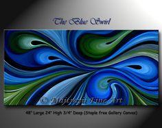 CUSTOM Blue Swirl Unique Oil Painting Modern by orignalmodernart, $380.00