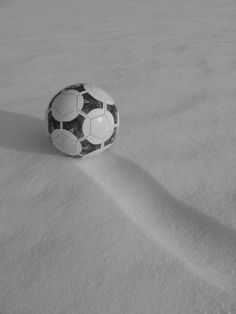 soccer snow trail black and white