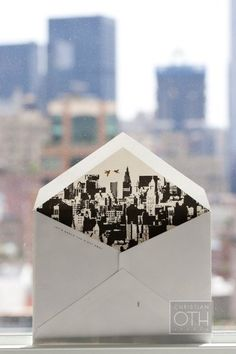new york city skyline wedding invitation. #envelope #stationary