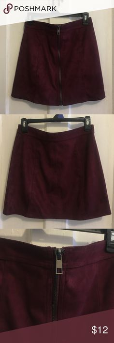 Forever 21 Maroon Faux Suede Mini A-Line Skirt Cute faux suede zip up mini skirt in an on-trend maroon! Gun metal zipper in front and a flattering fit. Like new, only worn once. Forever 21 Skirts Mini