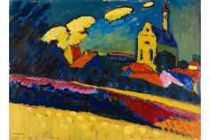 Wassily Kandinsky, Study of Murnau?Landscape with Church, 1909 on ArtStack #wassily-kandinsky-vasilii-vasil-ievich-kandinskii #art