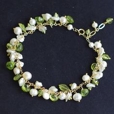 Cluster bracelet with peridot fresh water by FridaHandmadeJewelry, $92.00