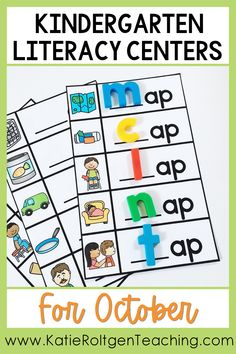 This engaging literacy center bundle includes over 20 centers covering foundational literacy skills such as letter recognition, letter sounds, sight words, and writing. Although it is not fall-themed, the foundational literacy skills covered are appropriate for kindergarten students during the second to third months of the school year. These easy, fun literacy centers can be used for pre-teaching, re-teaching, and review as well!
