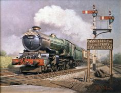 """Collett King Class 6027 King Richard Ist on the Cambrian Coast Express passing Hatton Philip D Hawkins artist. Diesel Locomotive, Steam Locomotive, Train Drawing, Heritage Railway, Old Steam Train, Holland, Steam Railway, Train Art, Train Pictures"