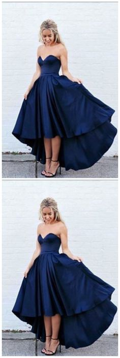 New Arrival simple dark navy blue high-low prom dress, evening dress