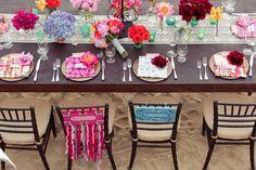 In LOVE with this table decor for a Mexico destination wedding! So vibrant! {Photo: Dino Gomez | Venue: Hacienda Cocina Y Cantina}