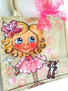 Children's illustration hand painted and personalised onto a eco friendly Jute bag.