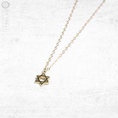 Star of David necklace, magen david charm, jewish necklace, dainty necklace, statement necklace, gift under 50, everyday necklace tiny charm
