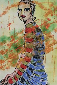 Weiteres - abstraktes Portrait - Original - Aquarell fine art - ein Designerstück von mizzonybaby bei DaWanda