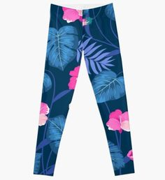 'Colorful Flowers Floral Dresses' Leggings by proeinstein Floral Leggings, Graphic Shirts, Leggings Fashion, Summer Looks, Colorful Flowers, Chiffon Tops, Autumn, Clothes For Women, Dog