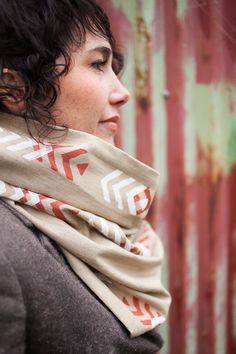 Arrows Infinity Cowl  Tan with Rust & White  by TheFarWoods, $40.00
