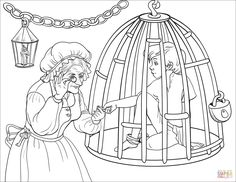 The Witch is Checking If Hansel is Enough Fat to Eat Him Hansel Y Gretel, Rainy Day Activities, Scroll Saw, Coloring Pages For Kids, Cool Kids, Fairy Tales, Kindergarten, Witch, Sketches