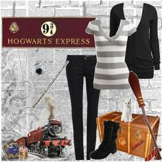 """Epic Harry Potter Challenge- Platform 9 3/4"" by hannah-banana ❤ liked on Polyvore"