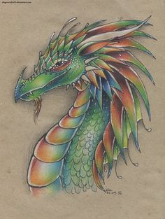 Color Pencil dragon drawing by DragonRider02.deviantart.com on @DeviantArt