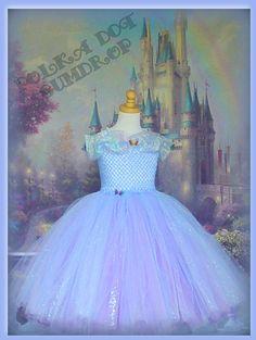 New Cinderella (2015) Inspired Cornflower Blue Glitter Butterfly Tutu Flower Girl Dress Halloween Costume 4T & 5T Ready to Ship!
