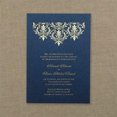 Tapestry Wedding Invitation - Navy Blue Shimmer