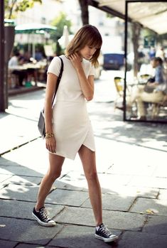 This Asymmetrical Dress And Sneakers Mix Is A No-Brainer For Spring