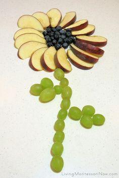 Fruit flower - Peut remplacer les pommes par des morceaux d`orange