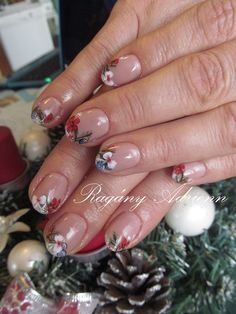 gel polish for christmas with painted decoration Gel Polish, Decoration, Nails, Christmas, Painting, Finger Nails, Yule, Decorating, Xmas