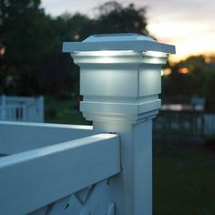 4'' x 4'' Solar Lighted Post Cap by Rockler. $39.99. Solar panel soaks up the sun and provides up to 10 hours of light per night.  Each solar post cap has four high-output LED ultra-bright white lights to accent your deck, fence, porch, mailbox post or walkway. Comes with two long-life AA rechargeable batteries. Fits over any standard vinyl or wood post. Manufactured from UV-stable PVC guaranteed not to fade, yellow or rust. Color: white.