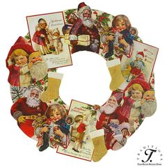 "2013  CHRISTMAS IMAGE DIECUT WREATH  (it is flat!--great for doors with little clearance!)  Decoupaged MDF with layered cutouts and glitter accents 20""  $42.99 Z"