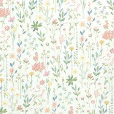 Papel pintado field of flowers verde menta Flower Wallpaper, Pattern Wallpaper, White Wallpaper, Paper Moon, Summer Flowers, Designer Wallpaper, Flower Prints, Cute Wallpapers, Print Patterns