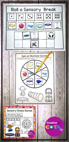 Sensory Choice Games Several ways for students to make a sensory choice for a break or as part of therapy session. Use the pictures included, add Boardmaker pictures or your own photos to the templates. Templates fit 1 inch by 1 inch pictures. Movement Activities, Sensory Activities, Activity Games, Classroom Activities, Learning Activities, Kids Learning, Sensory Motor, Early Learning, Choices Game