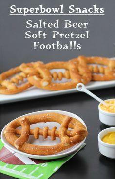 Hungry Happenings: Superbowl Party Snacks - Salted Beer Soft Pretzel Footballs