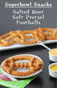 Hungry Happenings: Superbowl Party Snacks - Salted Beer Soft Pretzel Footballs