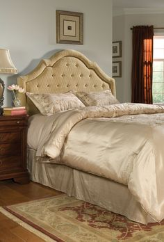 Beds, Queen Upholstered Headboard, Dining Room Table Sets, Bedroom Furniture, Curio Cabinets and Solid Wood Furniture - Model - Home Gallery Stores Furniture Tufted Bed, Tufted Headboards, Gold Bedding Sets, Buy Bed, Solid Wood Furniture, Better Homes, Bed Design, Bedroom Furniture
