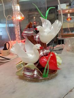 Sugar pulling and blowing dove showpiece - by sweetstop @ CakesDecor.com - cake decorating website