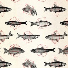Fishes In Geometrics (Red) by Speakerine http://society6.com/product/Fishes-In-Geometrics-Red_Print