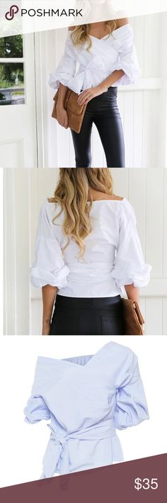 "Elegant and Trendy! Elegant Long Sleeve Blouse. Sexy Off Shoulder and Bow ! Material	Cotton,Polyester Bust: 38"" length: 24.5"", waist: 27-30"".  White color. I recommend this for narrow shoulders ! Tops Blouses"
