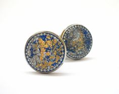 Men Cufflinks  cuff links for Men, husband gift, boyfriend gift, Gold  foil Cufflinks - Blue Gold  - Gift Bag Included