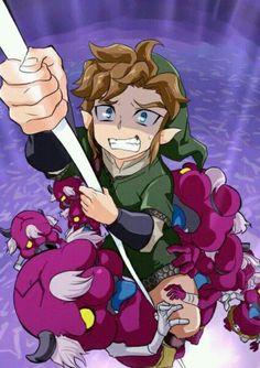 La cara de Link intentando subir con esos Bogglins (la verdad no sé como se escriben, lo siento ...