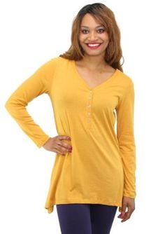 Styleandco. Top, Long Sleeve Jewel Button Henley
