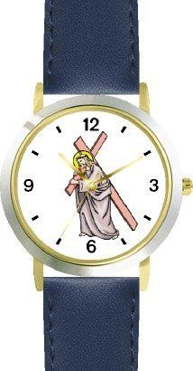 Jesus Christ Carrying Cross Christian Theme - WATCHBUDDY® DELUXE TWO-TONE THEME WATCH - Arabic Numbers - Blue Leather Strap-Children's Size-Small ( Boy's Size & Girl's Size ) WatchBuddy. $49.95
