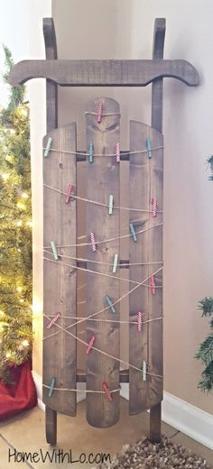 Holiday cards display ideas christmas cheer pinterest how to make your own sleigh card holder and display this cute sled is perfect for showing off your holiday christmas greeting cards m4hsunfo