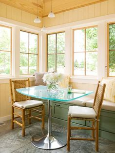 Is cramped space limiting your dining room table options? Try a banquette: http://www.bhg.com/kitchen/eat-in-kitchen/banquette-ideas/?socsrc=bhgpin102014blendedneauty&page=6