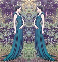 Floor-length handmade Dress with drapes and ropework, the dress is from a high quality Jersey (Silk-, Viscose-, Elasthane- Mix, other material by request)