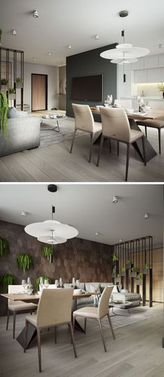 In this modern apartment, a small four person table with an angled base is surrounded by light colored dining chairs, and an artistic pendant light hangs above it. #DiningArea #ModernApartment