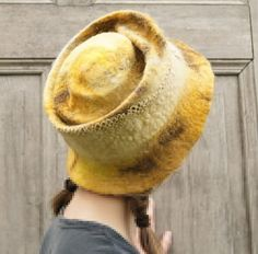 Yellow hat decorated with cotton lace. OOAK by filcAlki on Etsy, $69.00