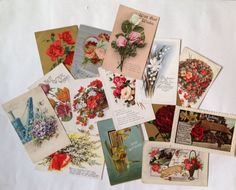 Vintage Postcards, Old Colour Images, Flowers Assemblage / Collage Supplies, Paper Ephemera, 14 items of Ephemera by gardenfullofVintage on Etsy